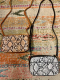 Snake Skin Top Zip Crossbody
