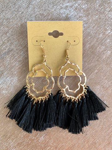 Gold & Black Tassel Earrings