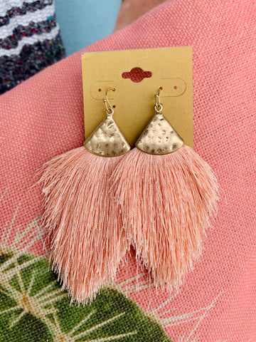 Blush Fringe Fan Earrings
