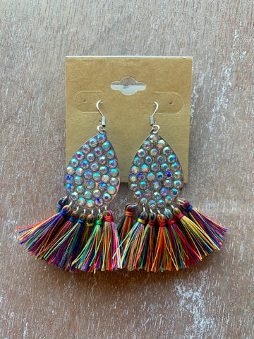 Multicolor Fringe & Rhinestone Earrings