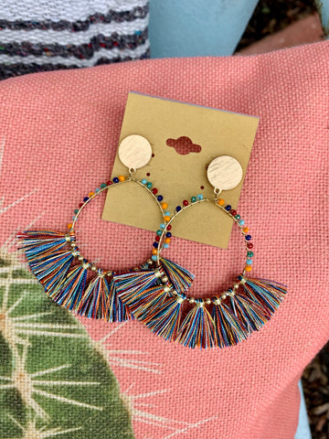 Multicolor Bead & Fringe Earrings