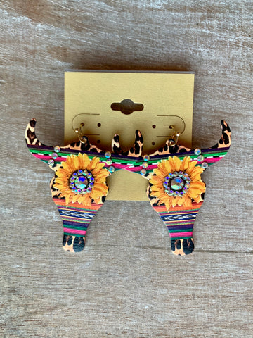 Aztec Rhinestone Longhorn Earrings