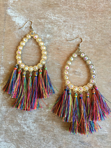 Large Rhinestone & Multicolor Fringe Earrings