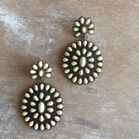 Cream Concho Earrings