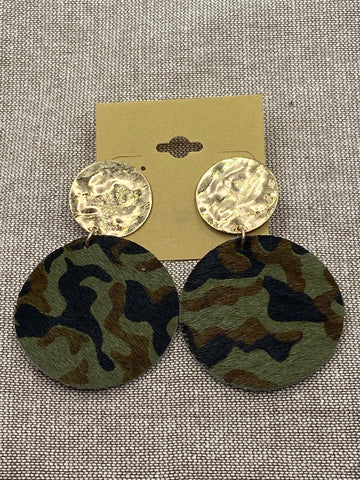 Suede Camouflage Post Earrings