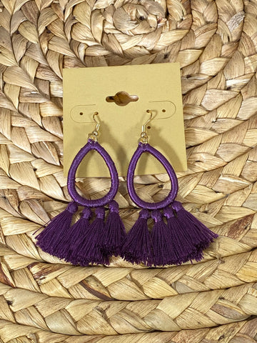 Purple Fringe Dangle Earrings