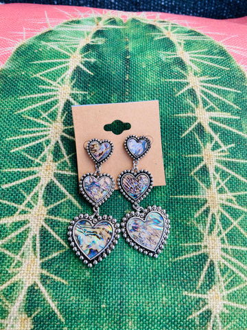Abalone Heart Post Earrings
