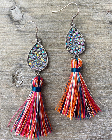 Crystal Teardrop & Multicolor Tassel Earrings