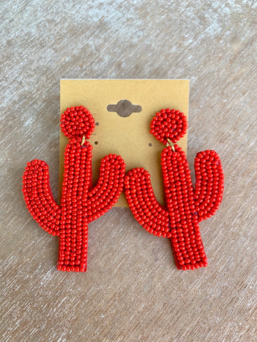 Red Beaded Cactus Earrings