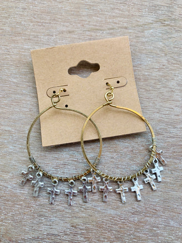 Gold Hoops with Silver Cross Charms
