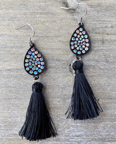 Crystal Teardrop & Black Tassel Earrings