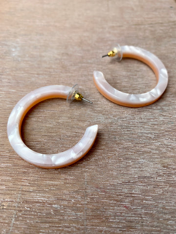 Cream & Peach Acrylic Hoops