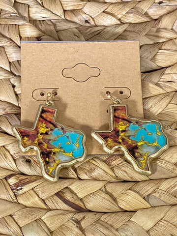 Turquoise and Brown Texas Dangle Earrings
