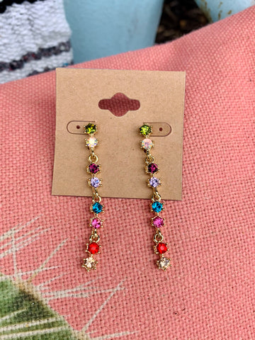 Multicolor Crystal Drop Earrings