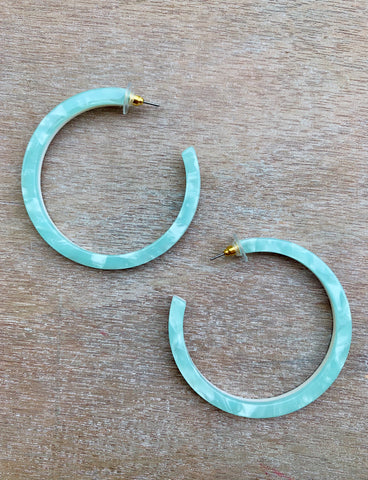 Blue Acrylic Hoops