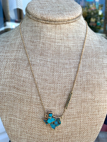 Turquoise Marbled Texas Pendant Necklace in Gold