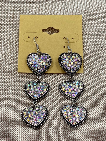 Crystal Heart Dangle Earrings