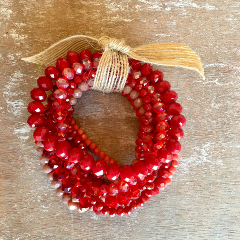 Red Crystal Beaded Bracelet Set