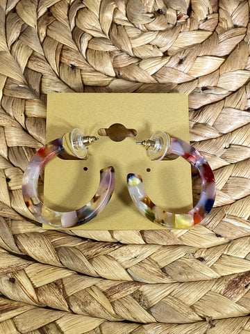 Acrylic Multicolored Hoop Earrings