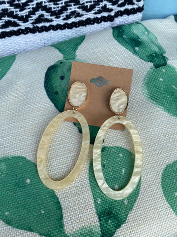 Cream Acrylic Hoop Earrings