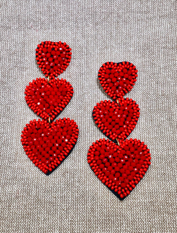 Red Heart Post Earrings
