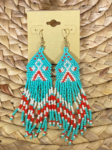 Native American Beaded Dangle Earrings