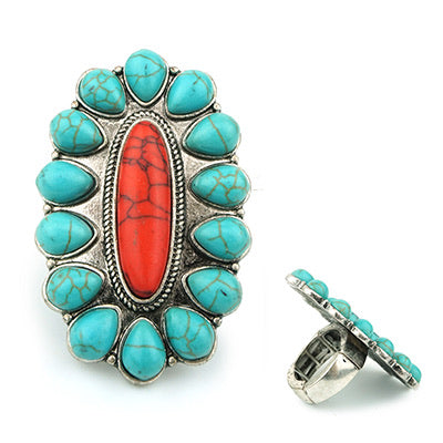 Turquoise and Red Ring