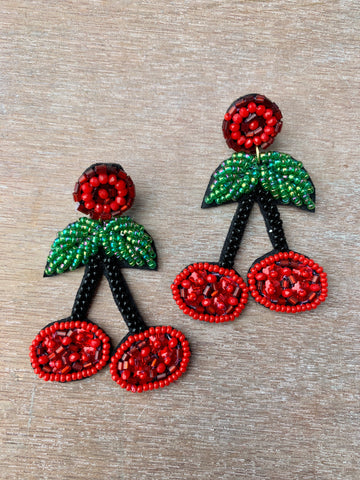 Beaded Cherry Earrings