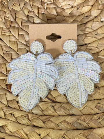 White Beaded Leaf Post Earrings