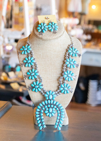 Turquoise Squash Blossom Necklace Set