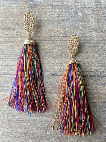 Gold & Rainbow Tassel Earrings