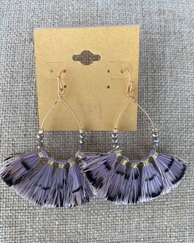 Gray Feather Earrings