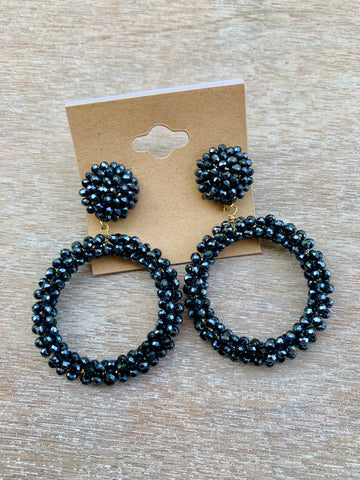 Black Crystal Beaded Drop Hoops