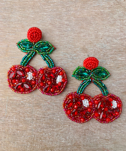 Bead & Sequin Cherry Earrings