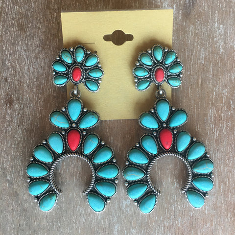 Turquoise & Red Squash Blossom Earrings