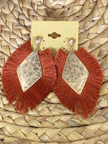 Rust Fringe Post Earrings