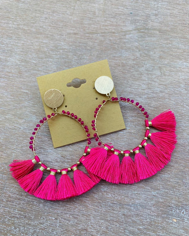 Gold & Pink Beaded Tassel Earrings