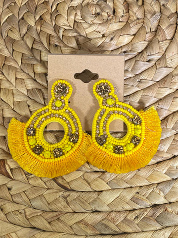 Yellow Fringe Post Earrings