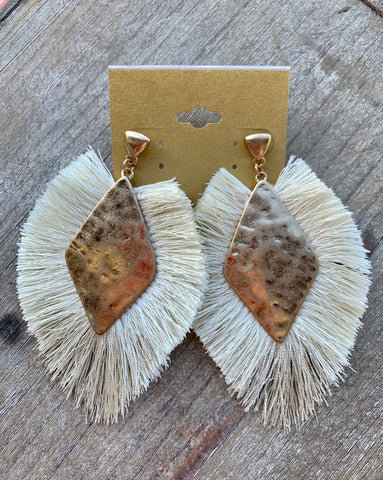 Gold & Cream Fringe Earrings