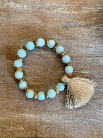 Natural Stone Bracelet with Tassel