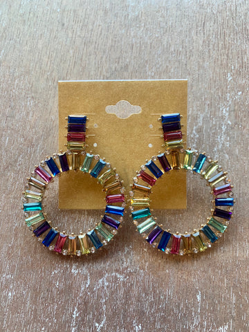 Multicolor Drop Hoop Rhinestone Earrings