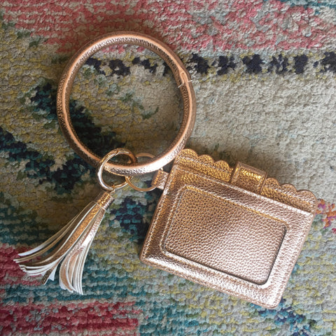Rose Gold Wristlet Key Ring