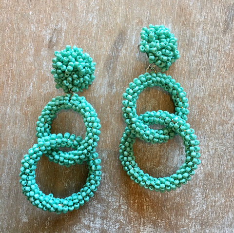Turquoise Seed Bead Double Drop Hoops