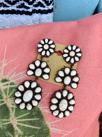 Cream Concho Clip Earrings