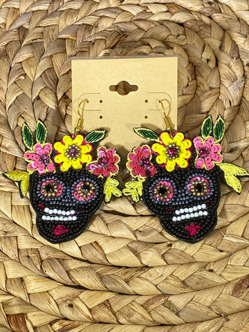 Black Day Of The Dead Dangle Earrings
