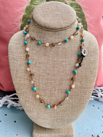 Crystal & Turquoise Beaded Necklace