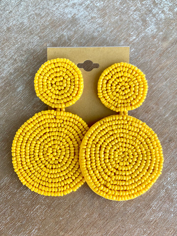 Yellow Circular Seed Bead Earrings