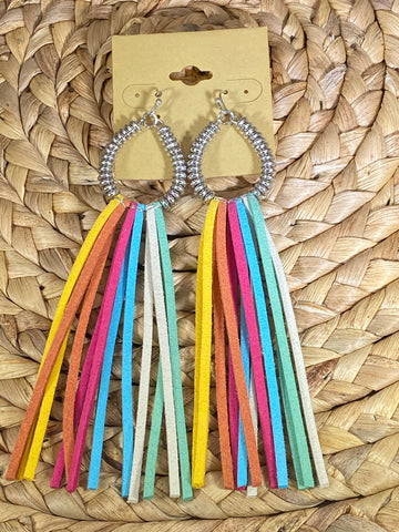 Suede Tassel Dangle Earrings