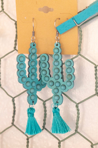 Turquoise Cactus & Tassel Earrings