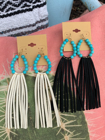 Turquoise & Suede Fringe Earrings